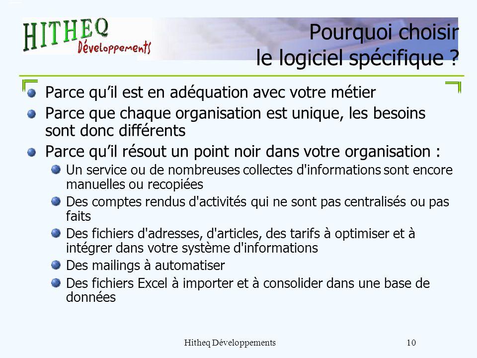 Hitheq Développements10 Pourquoi choisir le logiciel spécifique ? Parce quil est en adéquation avec votre métier Parce que chaque organisation est uni