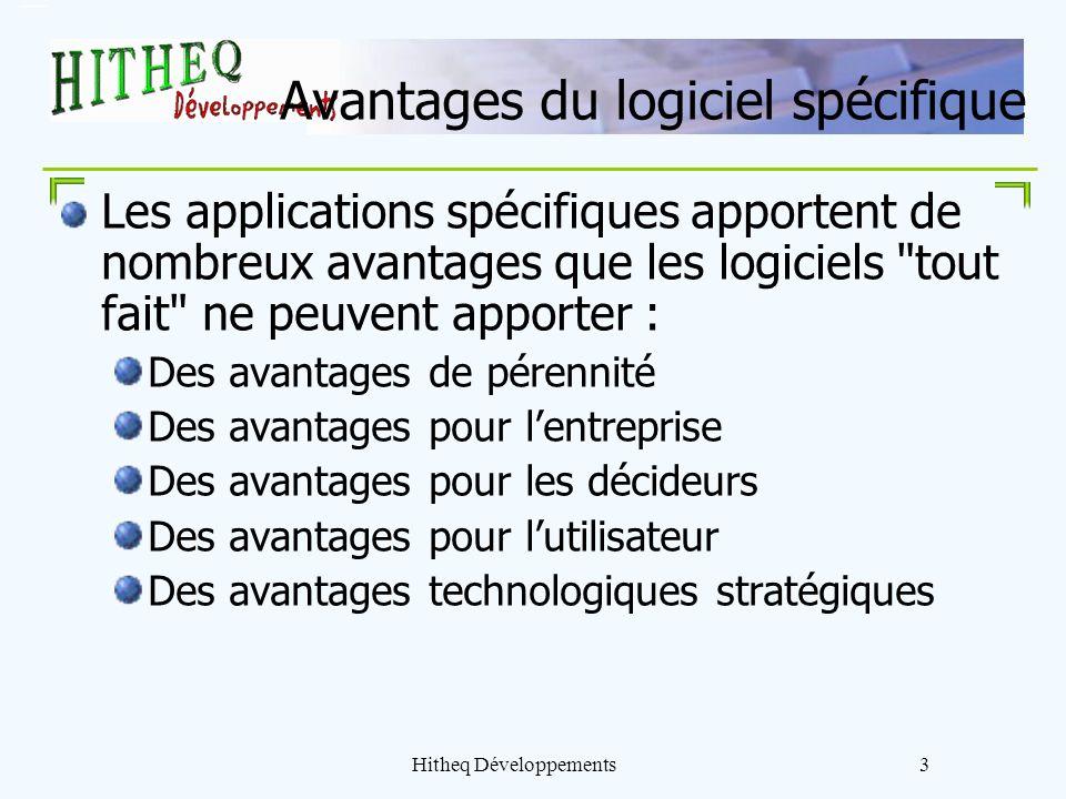 Hitheq Développements3 Avantages du logiciel spécifique Les applications spécifiques apportent de nombreux avantages que les logiciels