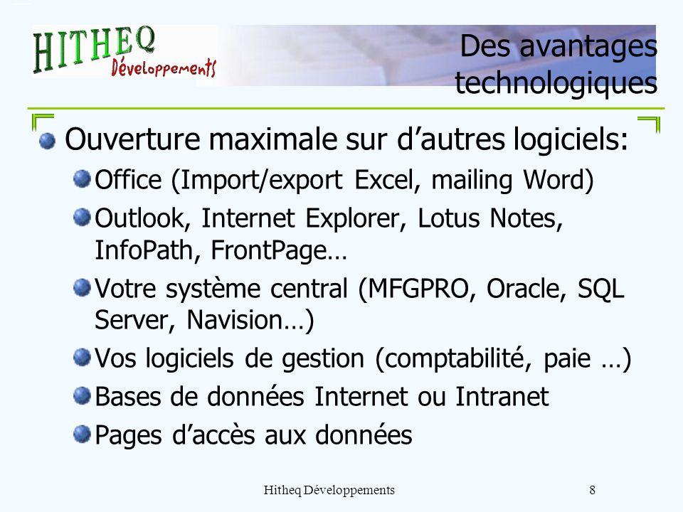 Hitheq Développements8 Des avantages technologiques Ouverture maximale sur dautres logiciels: Office (Import/export Excel, mailing Word) Outlook, Inte