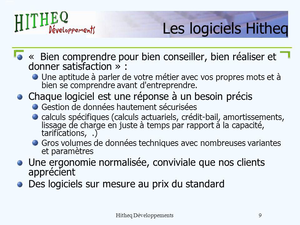 Hitheq Développements9 Les logiciels Hitheq « Bien comprendre pour bien conseiller, bien réaliser et donner satisfaction » : Une aptitude à parler de