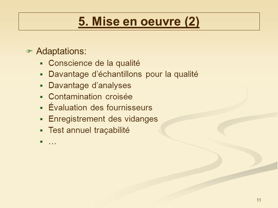 11 Adaptations: Conscience de la qualité Davantage déchantillons pour la qualité Davantage danalyses Contamination croisée Évaluation des fournisseurs