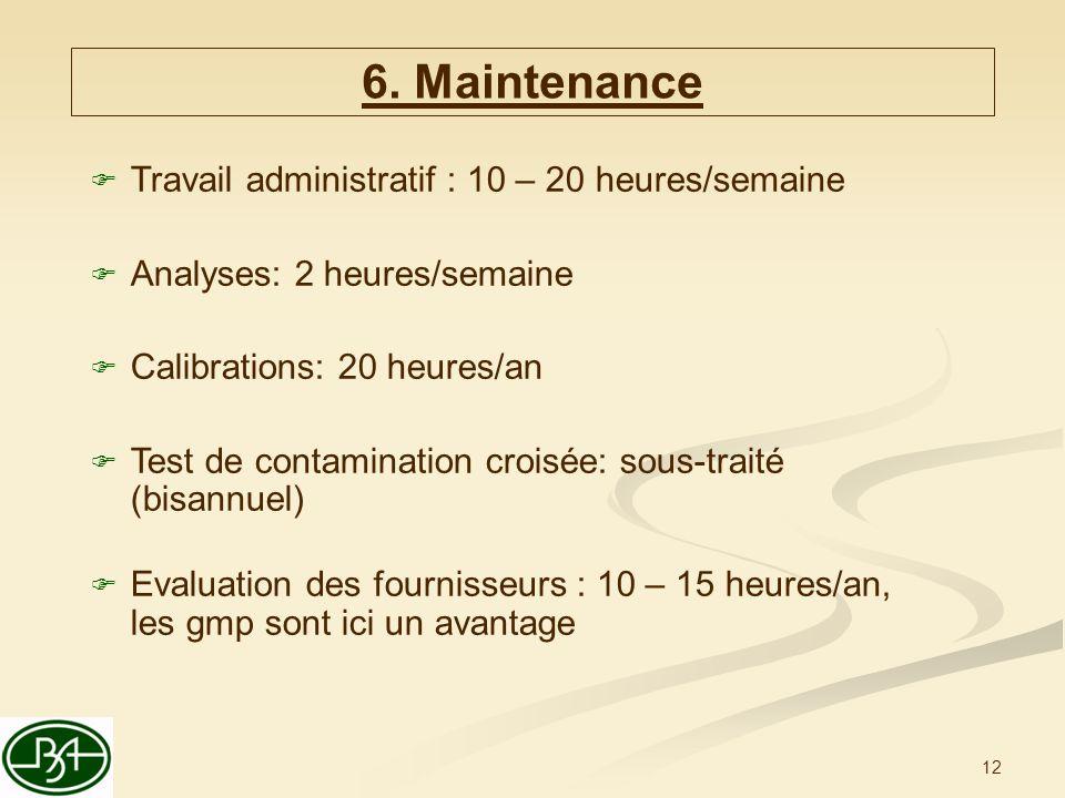 12 Travail administratif : 10 – 20 heures/semaine Analyses: 2 heures/semaine Calibrations: 20 heures/an Test de contamination croisée: sous-traité (bisannuel) Evaluation des fournisseurs : 10 – 15 heures/an, les gmp sont ici un avantage 6.