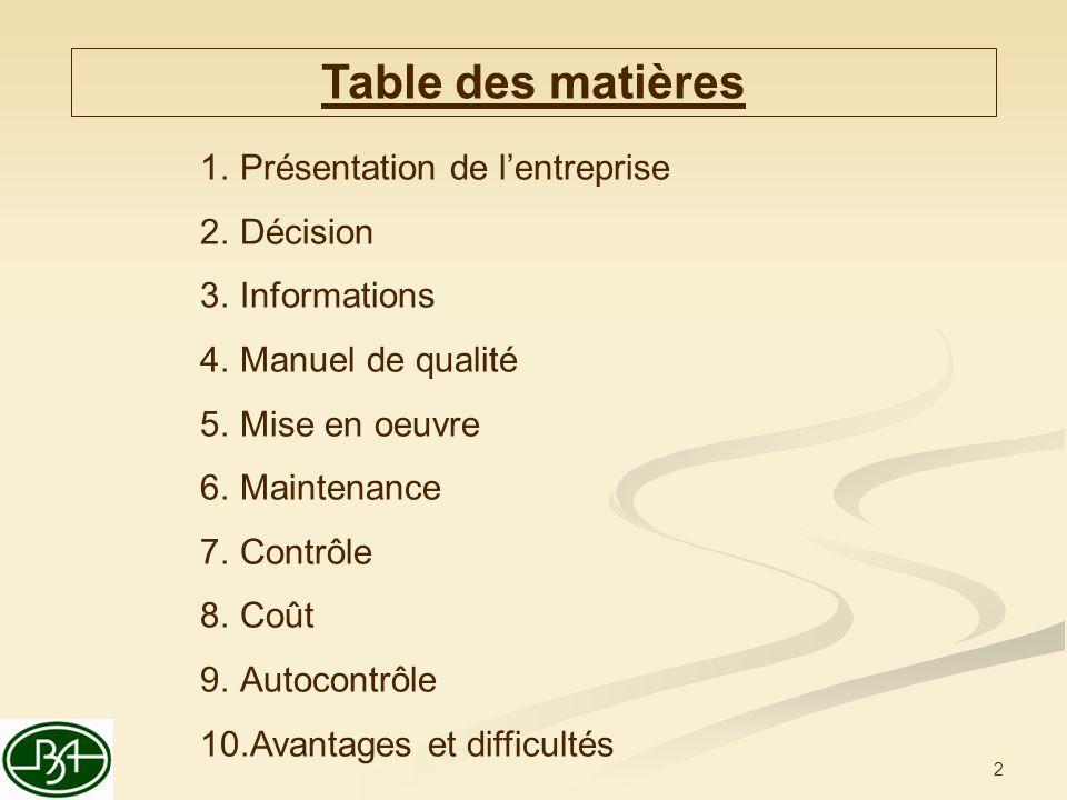 2 Table des matières 1.Présentation de lentreprise 2.Décision 3.Informations 4.Manuel de qualité 5.Mise en oeuvre 6.Maintenance 7.Contrôle 8.Coût 9.Au