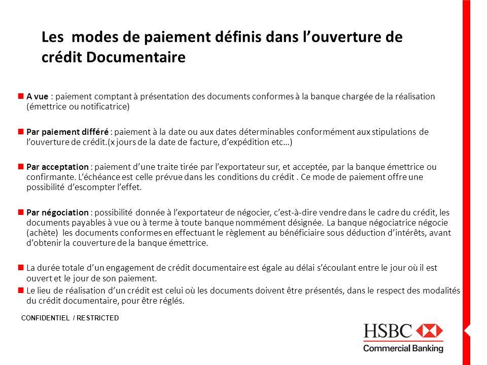CONFIDENTIEL / RESTRICTED Les modes de paiement définis dans louverture de crédit Documentaire A vue : paiement comptant à présentation des documents