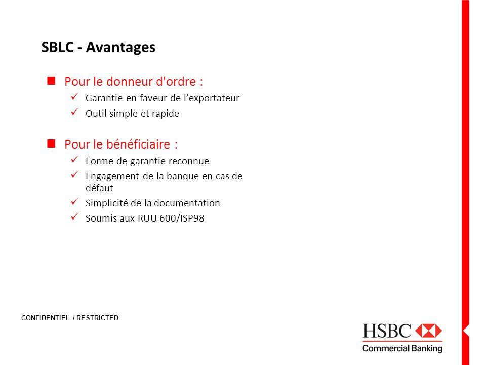 CONFIDENTIEL / RESTRICTED SBLC - Avantages Pour le donneur d'ordre : Garantie en faveur de lexportateur Outil simple et rapide Pour le bénéficiaire :