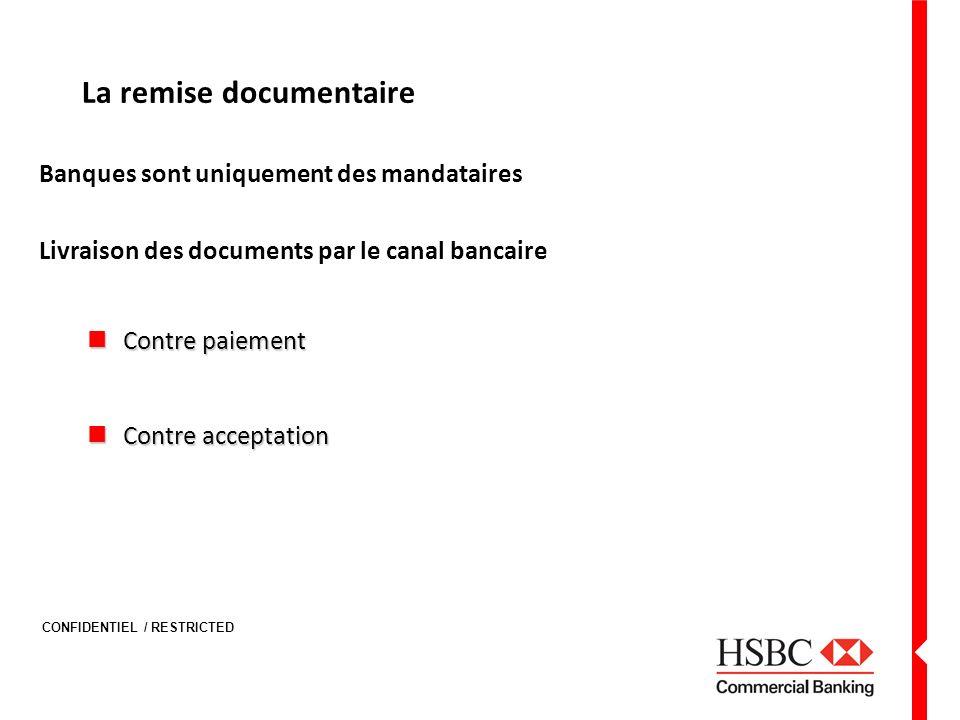 CONFIDENTIEL / RESTRICTED La remise documentaire Banques sont uniquement des mandataires Livraison des documents par le canal bancaire Contre paiement