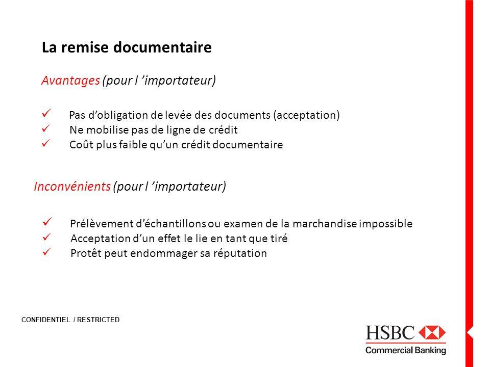 CONFIDENTIEL / RESTRICTED La remise documentaire Avantages (pour l importateur) Pas dobligation de levée des documents (acceptation) Ne mobilise pas d