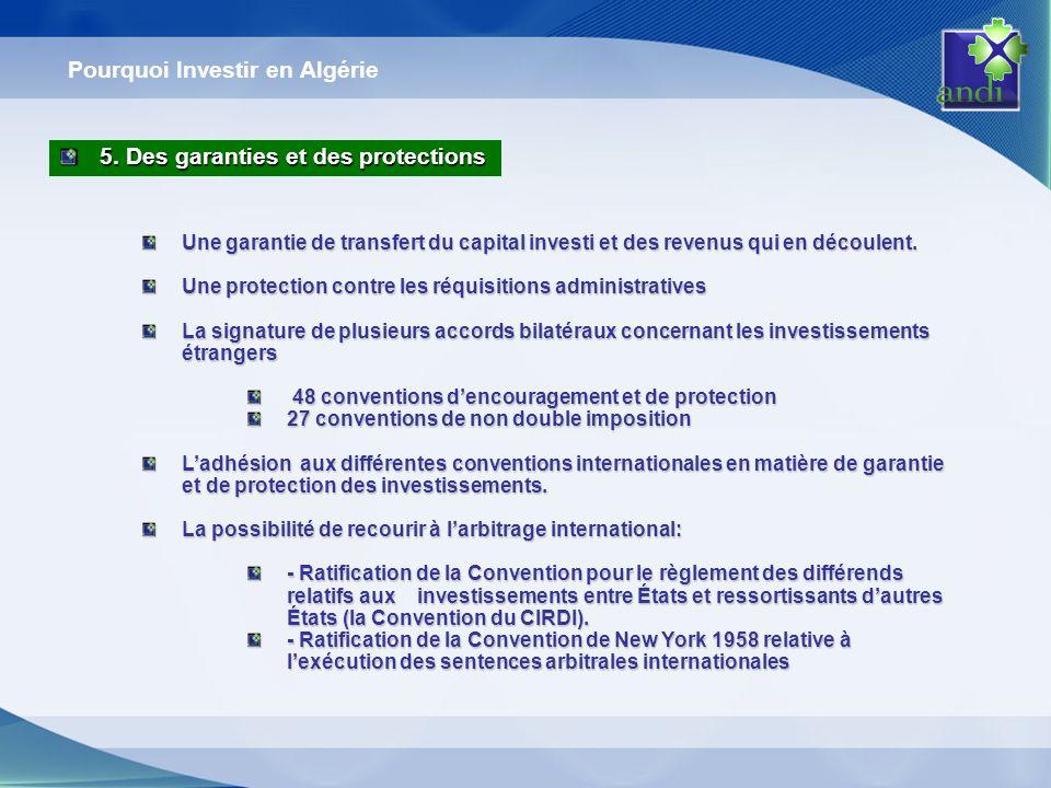 Pourquoi Investir en Algérie Une garantie de transfert du capital investi et des revenus qui en découlent. Une protection contre les réquisitions admi