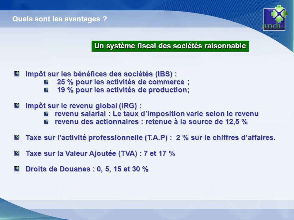 Impôt sur les bénéfices des sociétés (IBS) : 25 % pour les activités de commerce ; 25 % pour les activités de commerce ; 19 % pour les activités de pr