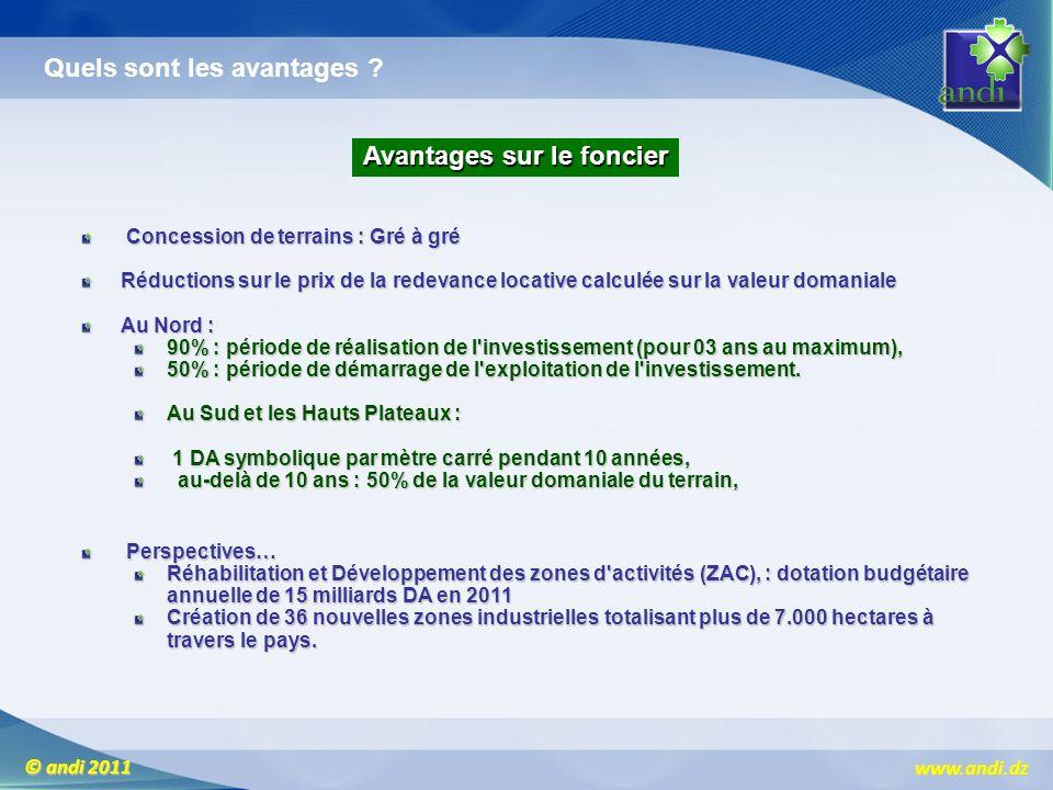 www.andi.dz © andi 2011 Avantages sur le foncier Concession de terrains : Gré à gré Concession de terrains : Gré à gré Réductions sur le prix de la re