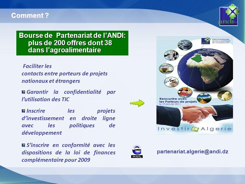partenariat.algerie@andi.dz Faciliter les contacts entre porteurs de projets nationaux et étrangers Garantir la confidentialité par lutilisation des T