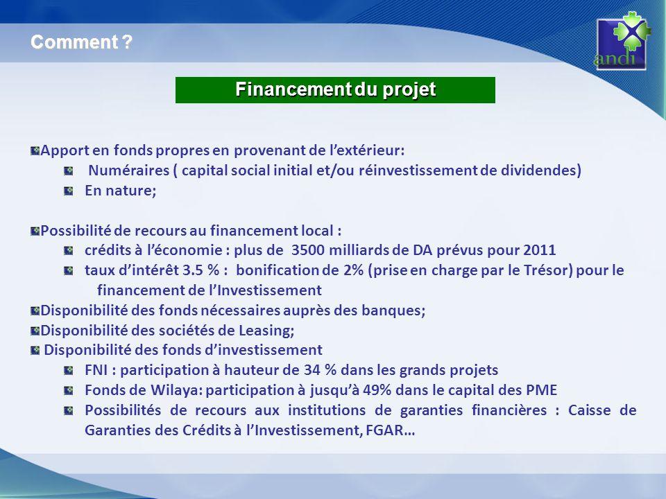 Financement du projet Apport en fonds propres en provenant de lextérieur: Numéraires ( capital social initial et/ou réinvestissement de dividendes) En