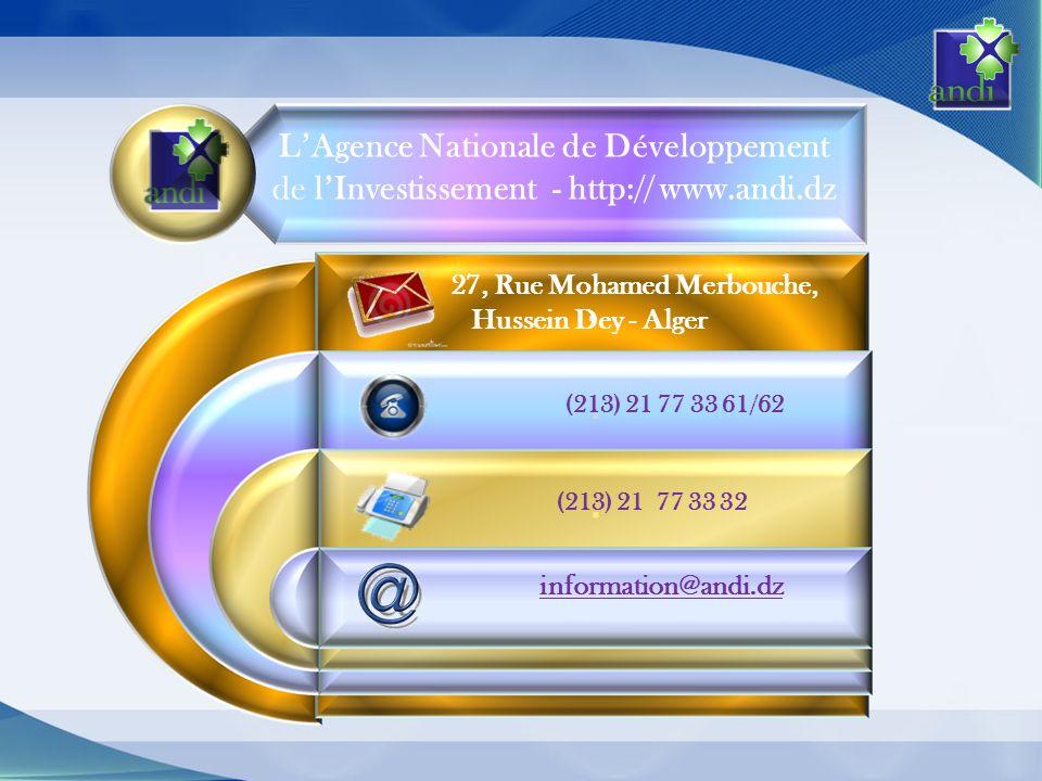 27, Rue Mohamed Merbouche, Hussein Dey - Alger (213) 21 77 33 61/62 (213) 21 77 33 32 information@andi.dz LAgence Nationale de Développement de lInvestissement - http:// www.andi.dz