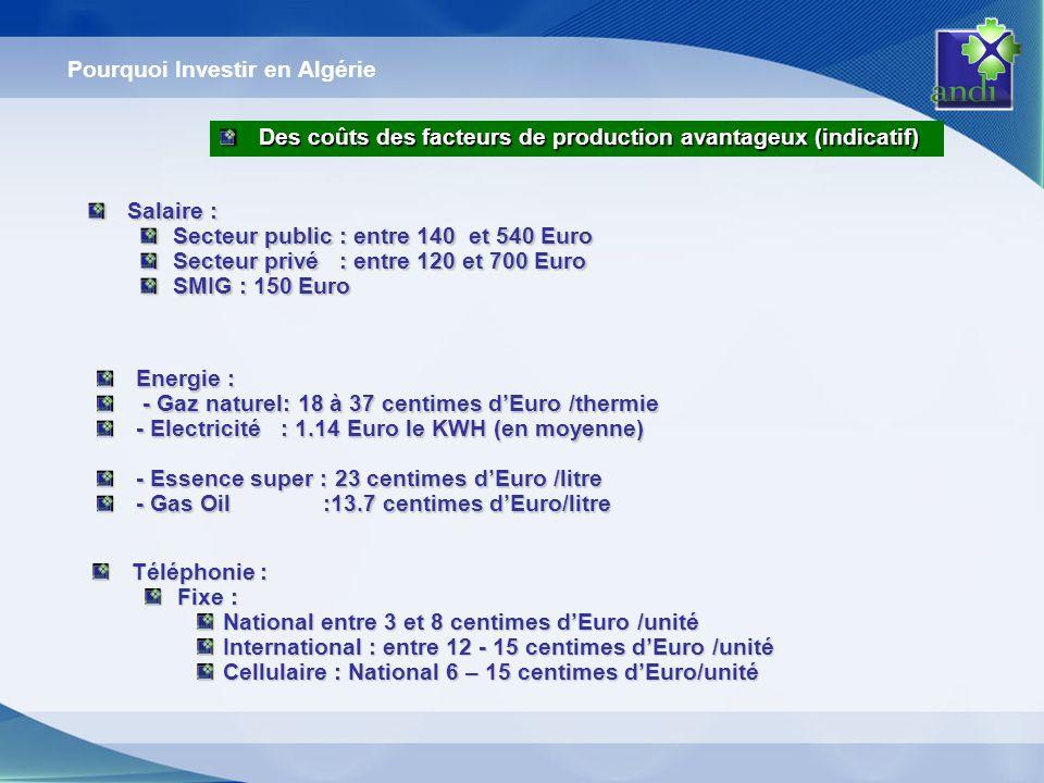 Pourquoi Investir en Algérie Des coûts des facteurs de production avantageux (indicatif) Des coûts des facteurs de production avantageux (indicatif) S