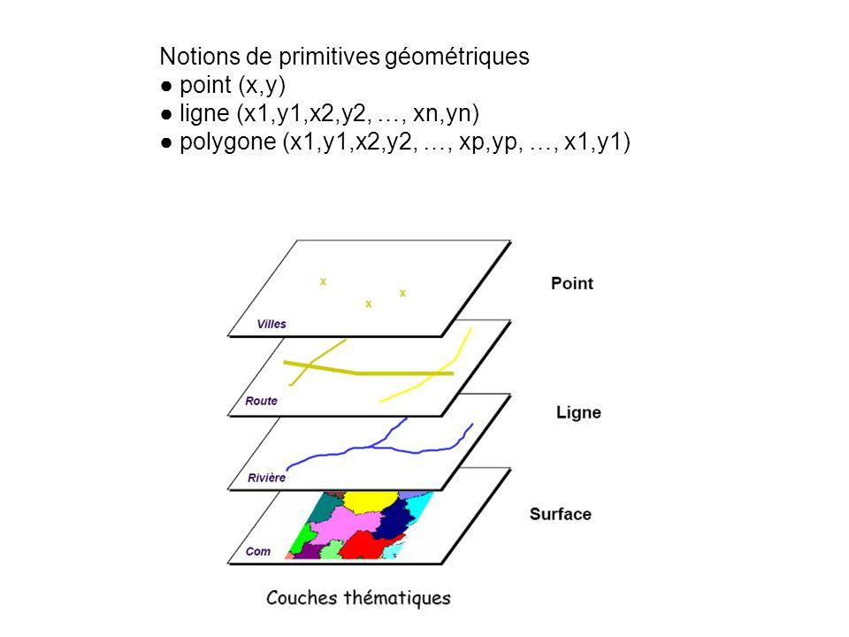 Notions de primitives géométriques point (x,y) ligne (x1,y1,x2,y2, …, xn,yn) polygone (x1,y1,x2,y2, …, xp,yp, …, x1,y1)