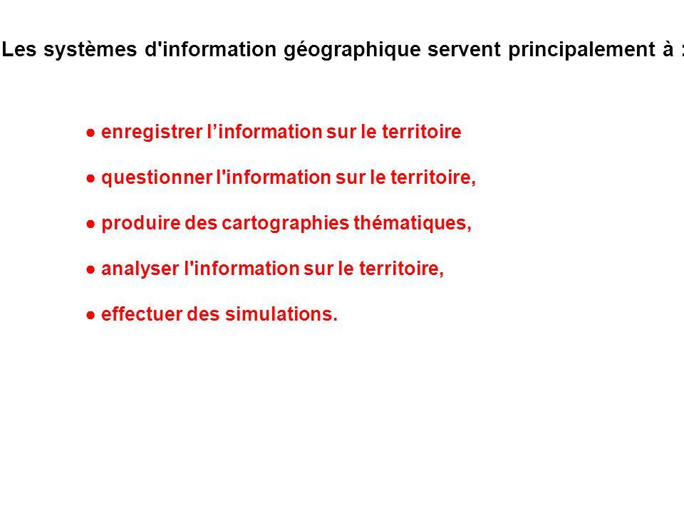 enregistrer linformation sur le territoire questionner l'information sur le territoire, produire des cartographies thématiques, analyser l'information