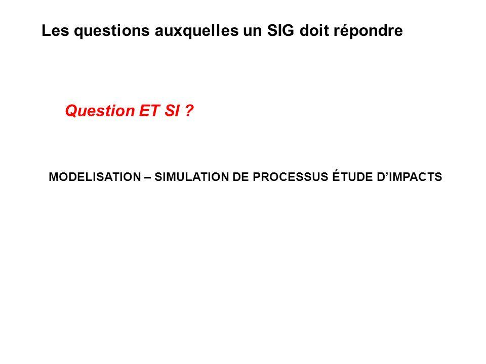 MODELISATION – SIMULATION DE PROCESSUS ÉTUDE DIMPACTS Question ET SI ? Les questions auxquelles un SIG doit répondre