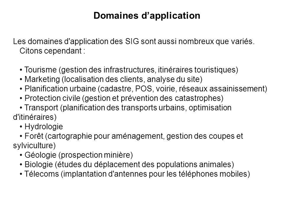 Domaines dapplication Les domaines d'application des SIG sont aussi nombreux que variés. Citons cependant : Tourisme (gestion des infrastructures, iti