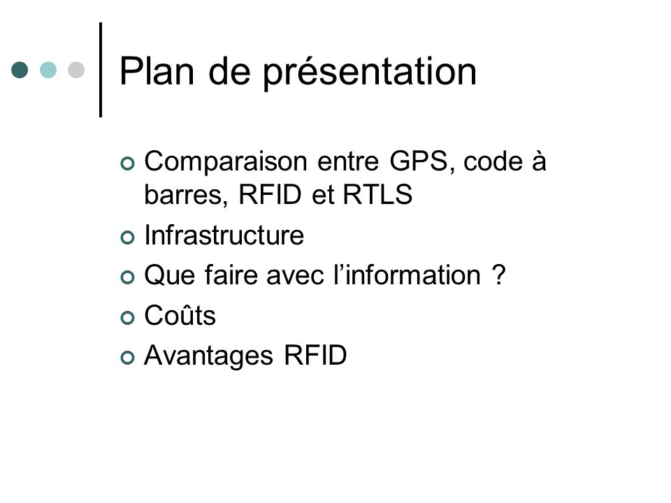 Plan de présentation Comparaison entre GPS, code à barres, RFID et RTLS Infrastructure Que faire avec linformation ? Coûts Avantages RFID