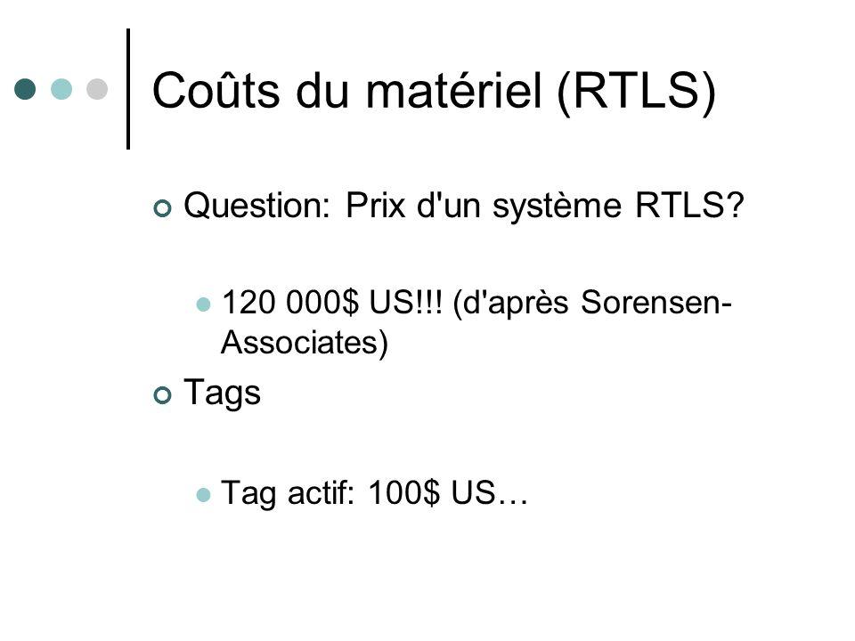 Coûts du matériel (RTLS) Question: Prix d'un système RTLS? 120 000$ US!!! (d'après Sorensen- Associates) Tags Tag actif: 100$ US…