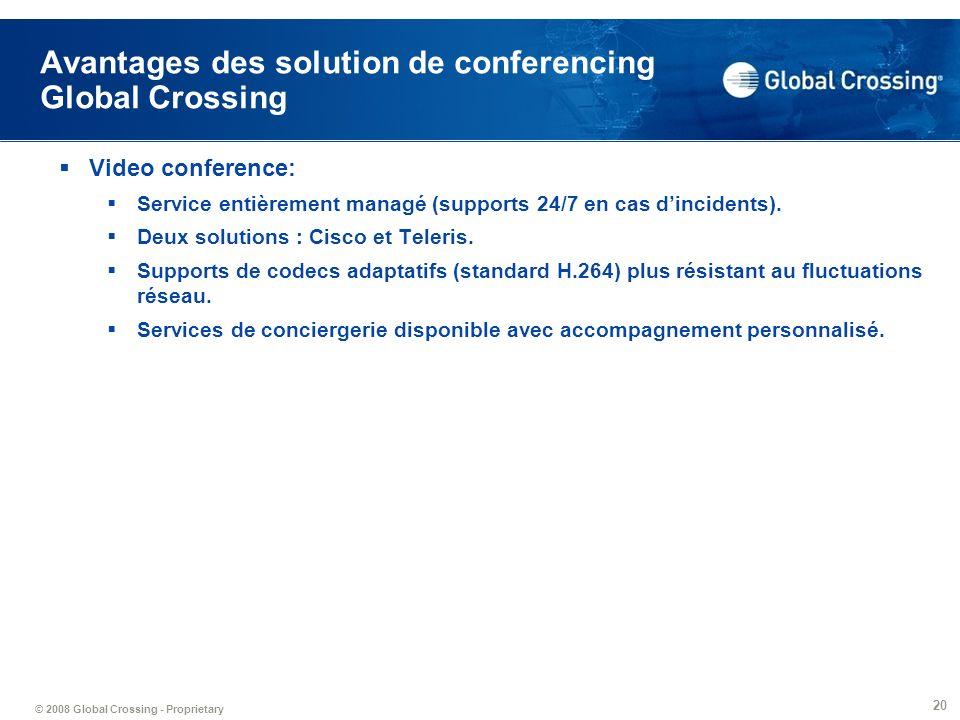 © 2008 Global Crossing - Proprietary 20 Avantages des solution de conferencing Global Crossing Video conference: Service entièrement managé (supports
