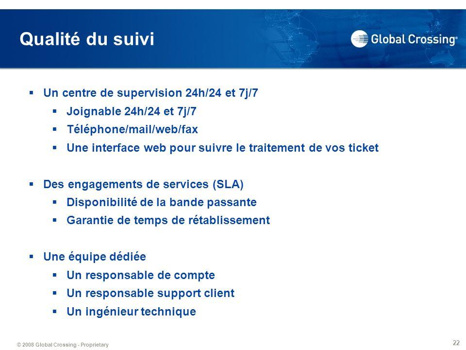 © 2008 Global Crossing - Proprietary 22 Qualité du suivi Un centre de supervision 24h/24 et 7j/7 Joignable 24h/24 et 7j/7 Téléphone/mail/web/fax Une i