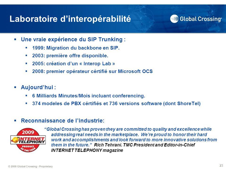 © 2008 Global Crossing - Proprietary 23 Laboratoire dinteropérabilité Une vraie expérience du SIP Trunking : 1999: Migration du backbone en SIP. 2003: