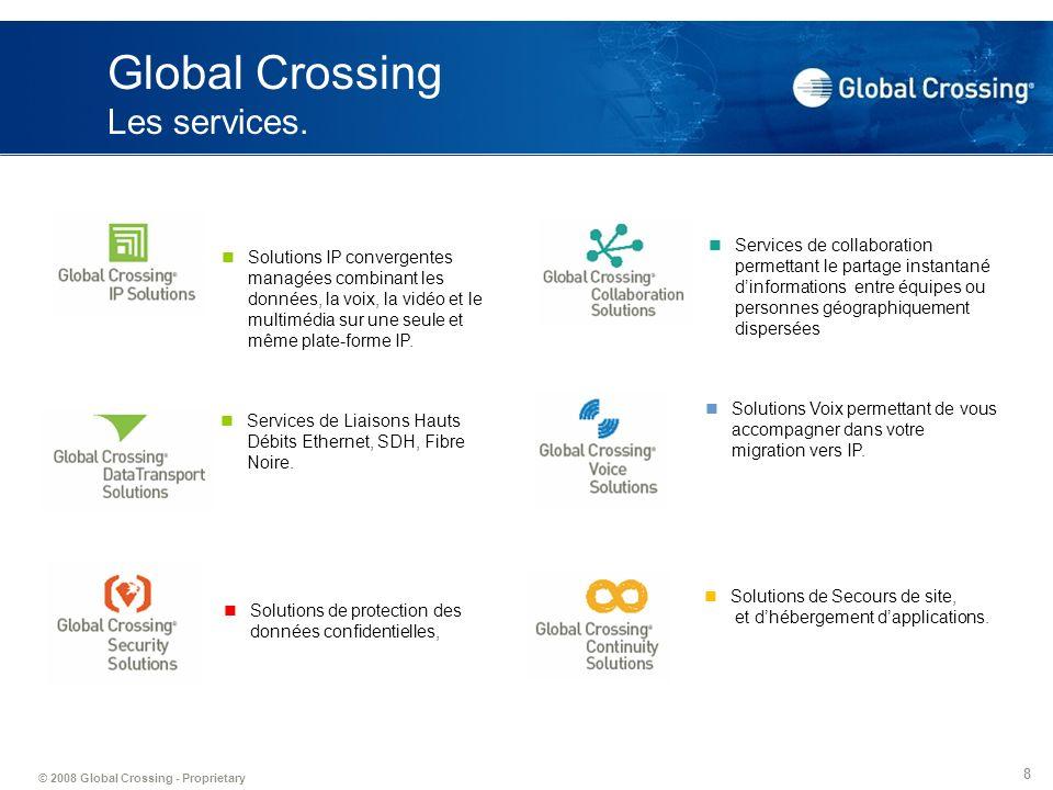 © 2008 Global Crossing - Proprietary 19 Avantages des solution de conferencing Global Crossing Audio conference: Service à la demande entièrement hébergé et géré par lopérateur.