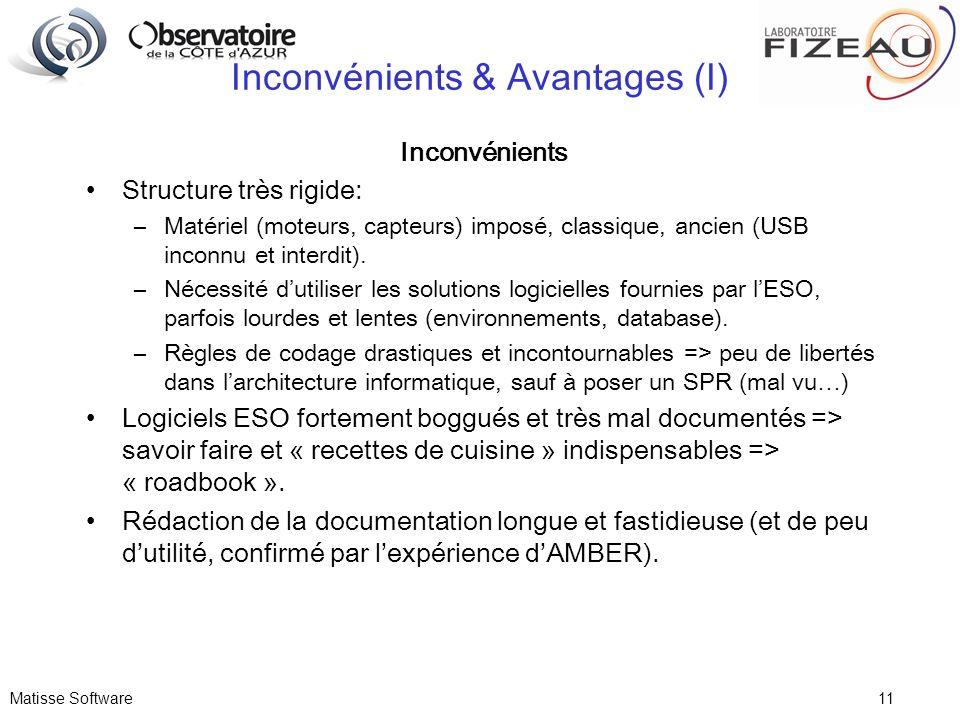 Matisse Software 11 Inconvénients & Avantages (I) Inconvénients Structure très rigide: –Matériel (moteurs, capteurs) imposé, classique, ancien (USB in