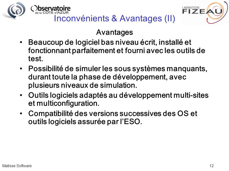 Matisse Software 12 Inconvénients & Avantages (II) Avantages Beaucoup de logiciel bas niveau écrit, installé et fonctionnant parfaitement et fourni av