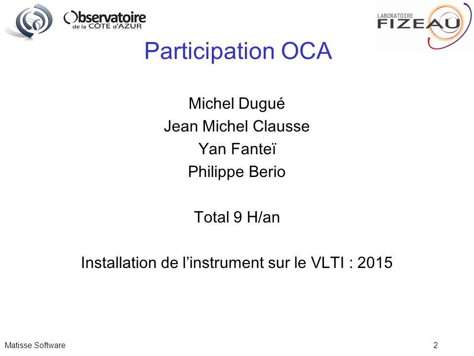 Matisse Software 2 Participation OCA Michel Dugué Jean Michel Clausse Yan Fanteï Philippe Berio Total 9 H/an Installation de linstrument sur le VLTI :