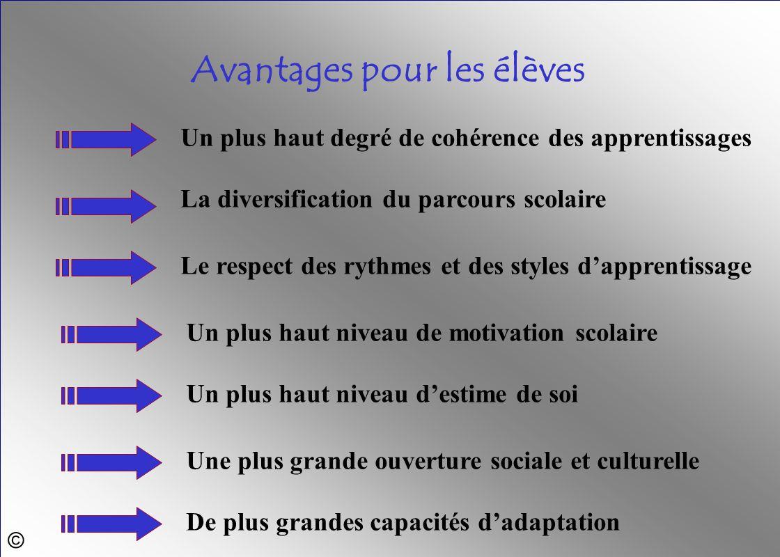© Un plus haut niveau de motivation scolaire Le respect des rythmes et des styles dapprentissage La diversification du parcours scolaire Un plus haut