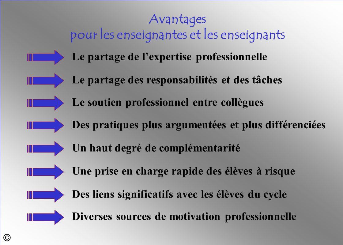© Le partage de lexpertise professionnelle Avantages pour les enseignantes et les enseignants Diverses sources de motivation professionnelle Des liens