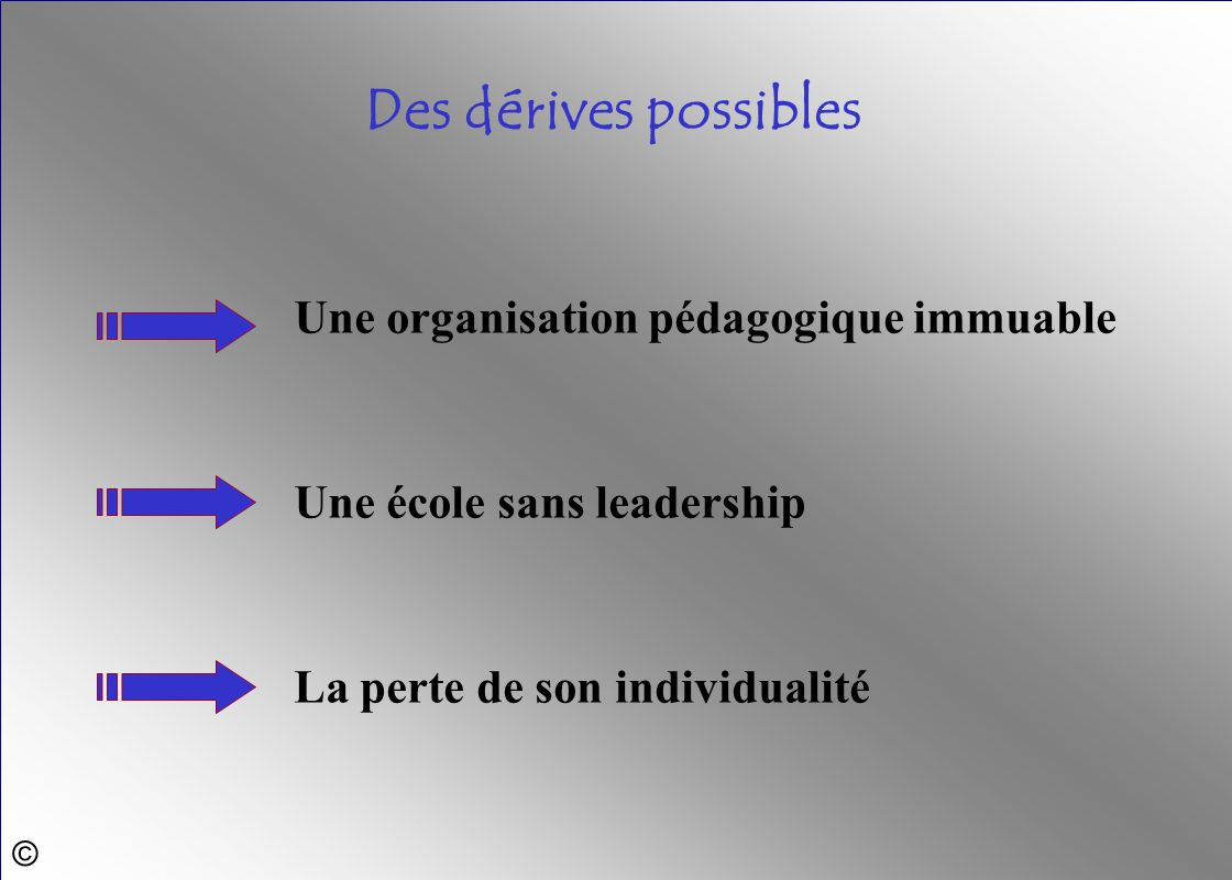 © Une école sans leadership Une organisation pédagogique immuable Des dérives possibles La perte de son individualité
