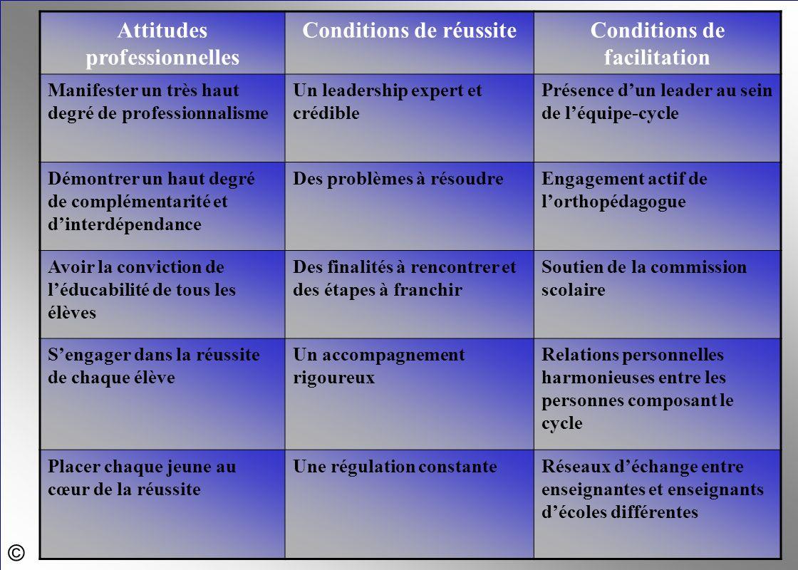 © Attitudes professionnelles Conditions de réussiteConditions de facilitation Manifester un très haut degré de professionnalisme Un leadership expert