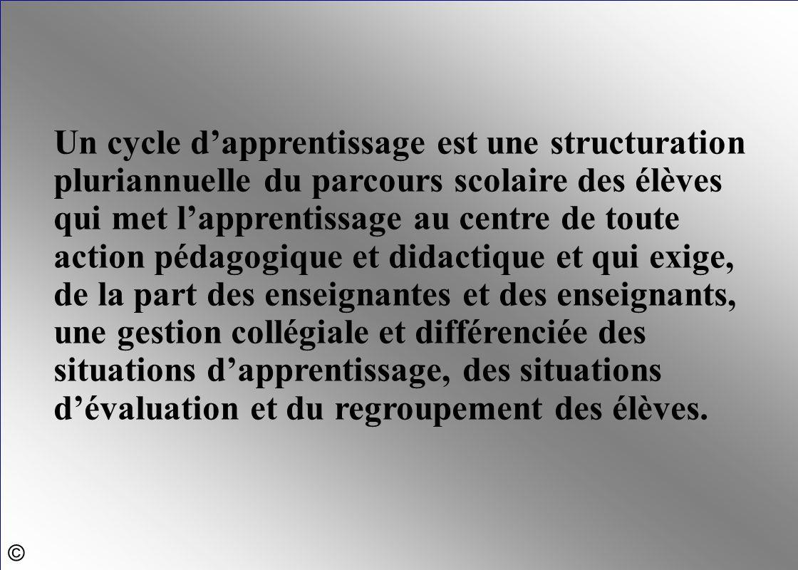 Un cycle dapprentissage est une structuration pluriannuelle du parcours scolaire des élèves qui met lapprentissage au centre de toute action pédagogiq