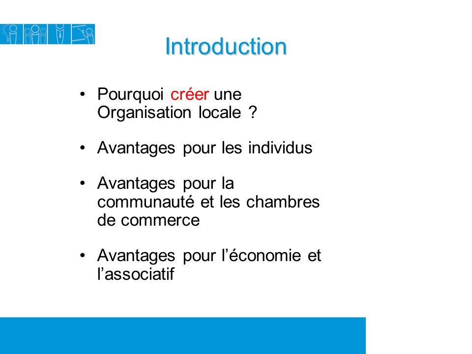 Introduction Pourquoi créer une Organisation locale .