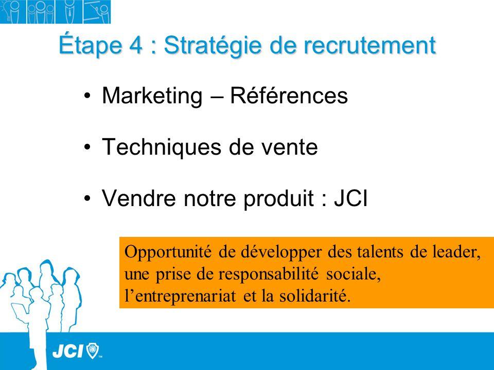 Étape 4 : Stratégie de recrutement Marketing – Références Techniques de vente Vendre notre produit : JCI Opportunité de développer des talents de lead