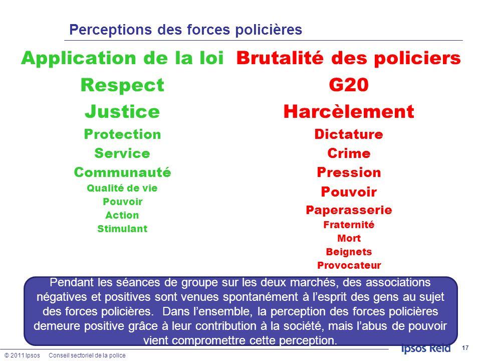 © 2011 IpsosConseil sectoriel de la police Perceptions des forces policières Application de la loi Respect Justice Protection Service Communauté Quali