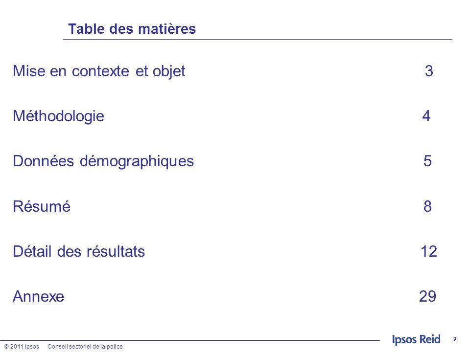 © 2011 IpsosConseil sectoriel de la police 22 Table des matières Mise en contexte et objet 3 Méthodologie 4 Données démographiques 5 Résumé 8 Détail d