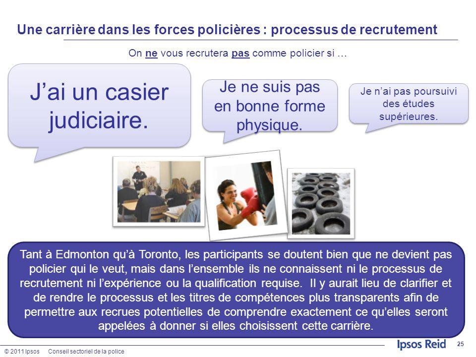 © 2011 IpsosConseil sectoriel de la police Une carrière dans les forces policières : processus de recrutement On ne vous recrutera pas comme policier