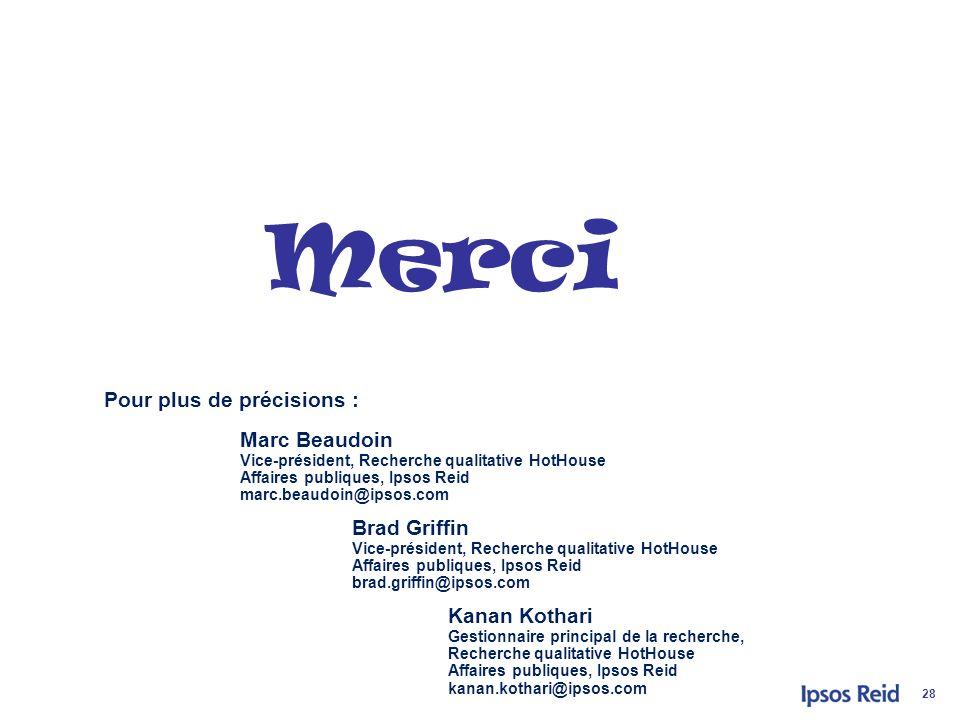 © 2011 IpsosConseil sectoriel de la police 28 Pour plus de précisions : Marc Beaudoin Vice-président, Recherche qualitative HotHouse Affaires publique