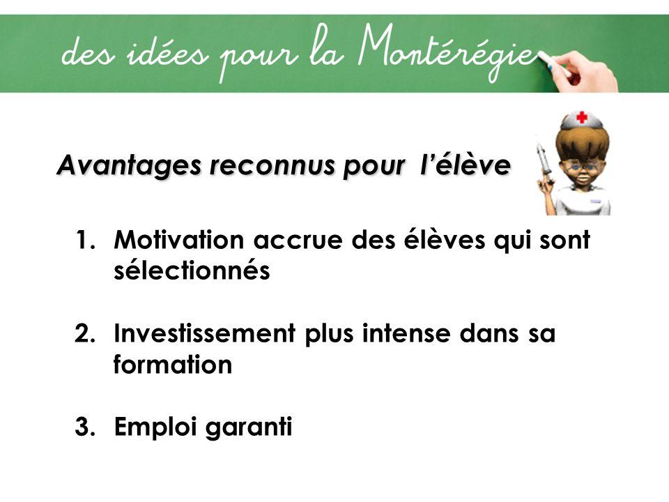 Avantages reconnus pour lélève 1.Motivation accrue des élèves qui sont sélectionnés 2.Investissement plus intense dans sa formation 3.Emploi garanti
