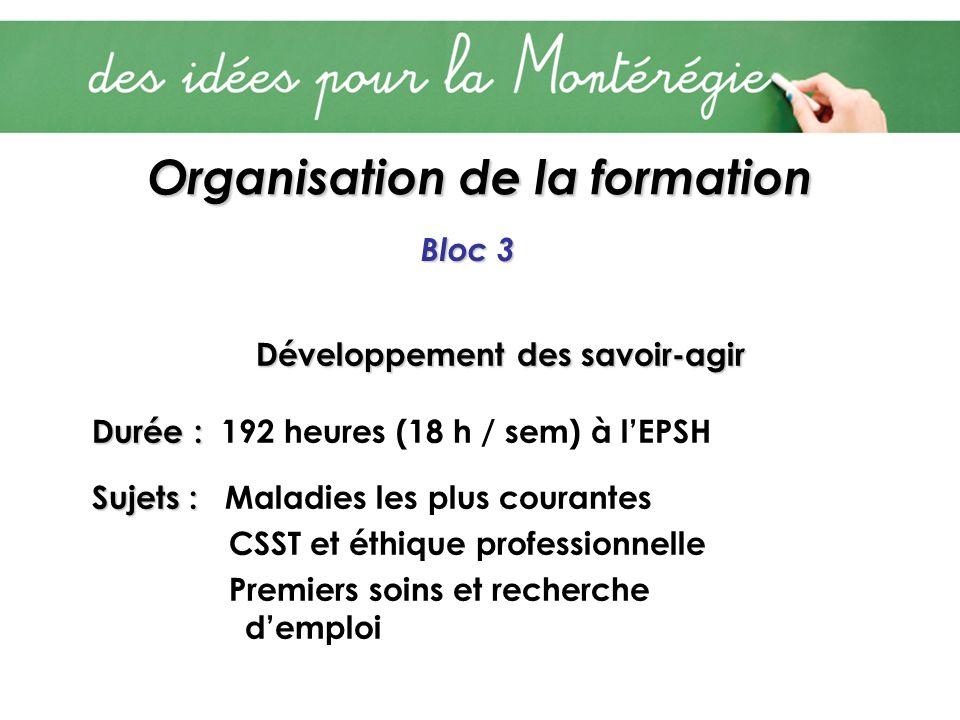 Organisation de la formation Bloc 3 Développement des savoir-agir Durée : Durée : 192 heures (18 h / sem) à lEPSH Sujets : Sujets : Maladies les plus