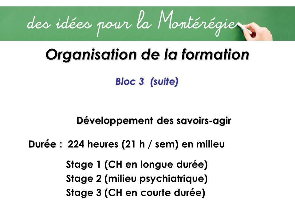 Organisation de la formation Bloc 3 (suite) Développement des savoirs-agir Durée : Durée : 224 heures (21 h / sem) en milieu Stage 1 (CH en longue durée) Stage 2 (milieu psychiatrique) Stage 3 (CH en courte durée)
