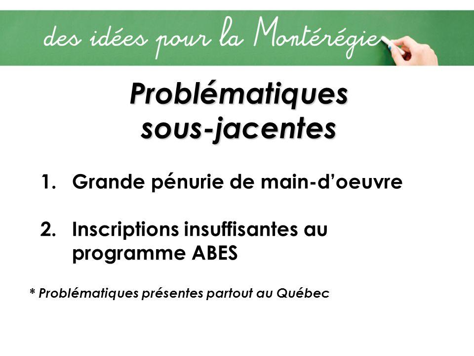 Problématiques sous-jacentes 1.Grande pénurie de main-doeuvre 2.Inscriptions insuffisantes au programme ABES * Problématiques présentes partout au Québec