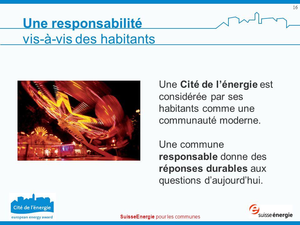 SuisseEnergie pour les communes 16 Une Cité de lénergie est considérée par ses habitants comme une communauté moderne. Une commune responsable donne d