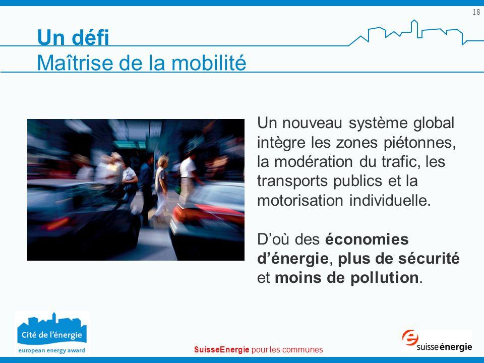 SuisseEnergie pour les communes 18 Un nouveau système global intègre les zones piétonnes, la modération du trafic, les transports publics et la motori