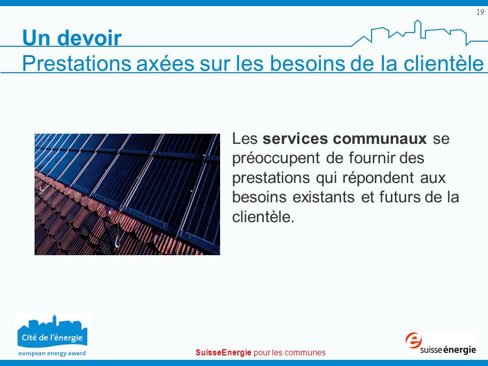 SuisseEnergie pour les communes 19 Les services communaux se préoccupent de fournir des prestations qui répondent aux besoins existants et futurs de la clientèle.