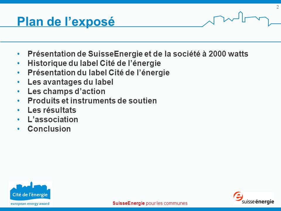 SuisseEnergie pour les communes 2 Plan de lexposé Présentation de SuisseEnergie et de la société à 2000 watts Historique du label Cité de lénergie Pré